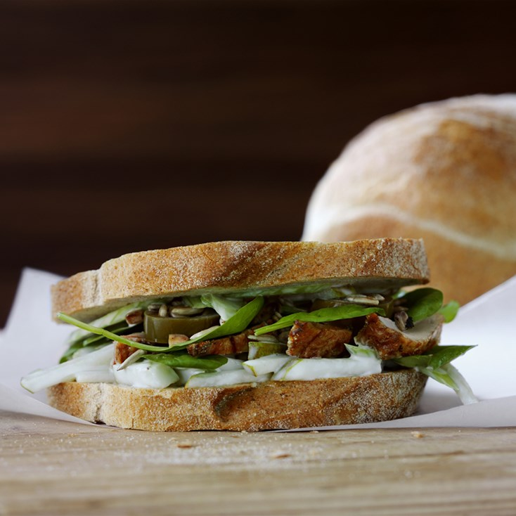 Chicken sandwich with pear and celery spread